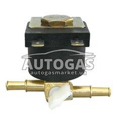 Электромагнитный клапан бензина Tomasetto, вход D6 мм, выход D6 мм, (метал. штуцер)