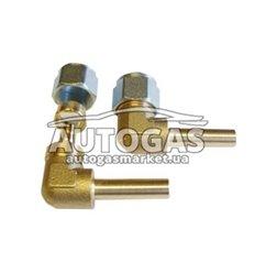 Переходник соединительный угловой+гайка+ниппель разрезной для термопластиковой трубки D8, GOMET (Тип Rail, Emer)