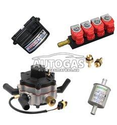 Комплект 4ц. STAG- 4 QBOX BASIC, ред. STAG R02 120 л.с. (до 80 кВт), форс. GreenGas тип 30-3 Ом, ф. 11/11