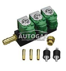 Форсунки GreenGas тип 30, 3 цил. 3 Oм, со штуцерами в коллектор, амортизаторами, переходником под жиклер (без жиклеров)