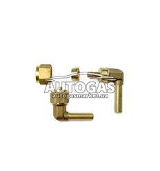 Переходник соединительный угловой+гайка+ниппель разрезной для термопластиковой трубки D6, Certools (Тип Faro)