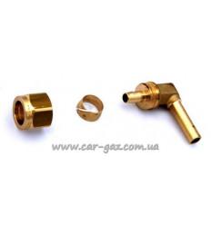 Уголок для мультиклапана термопластиковой трубки D8, 90 градусов