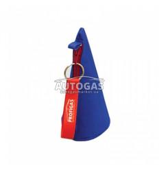 Чехол конусный для адаптера к ВЗУ (сине-красный) с брелком-ленточкой