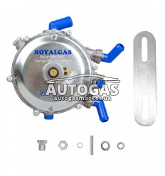 Редуктор ROYALGAS VR02 (пропан-бутан) 2-3-е пок., вакуум., 120 л.с. (90 кВт), вход D6 (M10x1), выход D19
