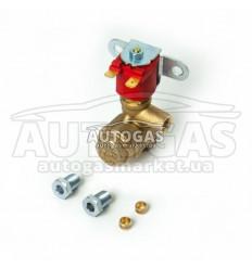 Электромагнитный клапан газа ROYALGAS (пропан-бутан) малый с боковым фильтроэлементом, вход D6 (M10x1), выход D6 (M10x1) (без ом