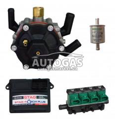 Комплект 4ц. STAG- 4 QBOX PLUS, ред. STAG R02 120 л.с. (до 80 кВт), форс. GreenGas тип 32, ф. 11/11