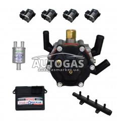 Комплект 4ц. STAG- 4 QBOX PLUS, ред. STAG R02 120 л.с. (до 80 кВт), форс. STAG W03 ф. 11/11