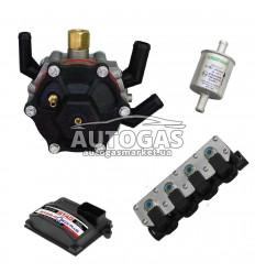 Комплект 4ц. STAG- 4 QBOX PLUS, ред. STAG R02 120 л.с. (до 80 кВт), форс. STAG W02 (черные), ф. 11/11