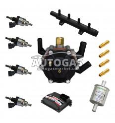 Комплект 4ц. STAG- 4 QBOX PLUS, ред. STAG R02 120 л.с. (до 80 кВт), форс. Hana 2001 Single тип C (черные)+распр, ф. 11/11